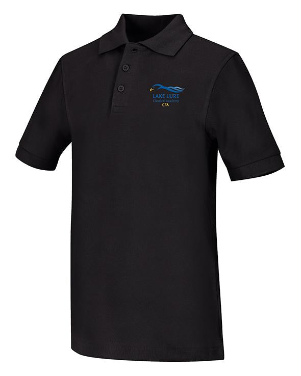Black Unisex Short Sleeve Pique Polo
