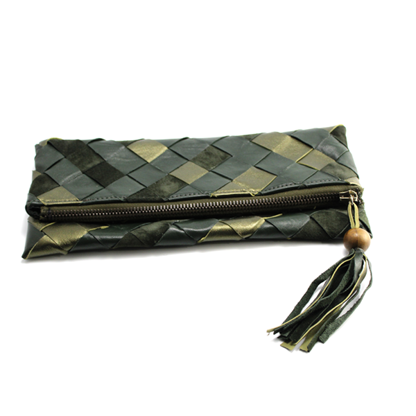 Casual Olive Green Leather Clutch