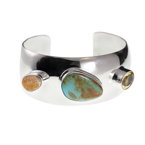 Exquisite Silver Bangle with Semi-precious Stones