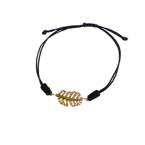 Macramé Bracelet with gold and chrystals leaf