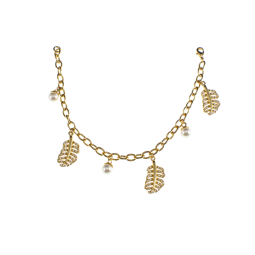 Gold Leaf Charms Bracelet.