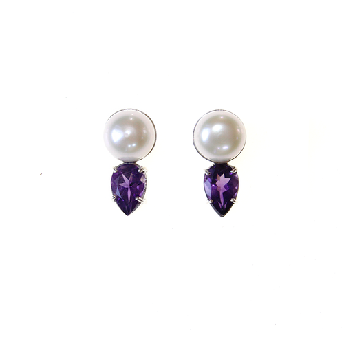 Pearl and amethyst sterling silver earrings