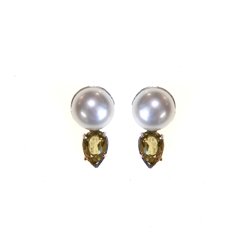 Lovely Pearl and Citrine Earrings