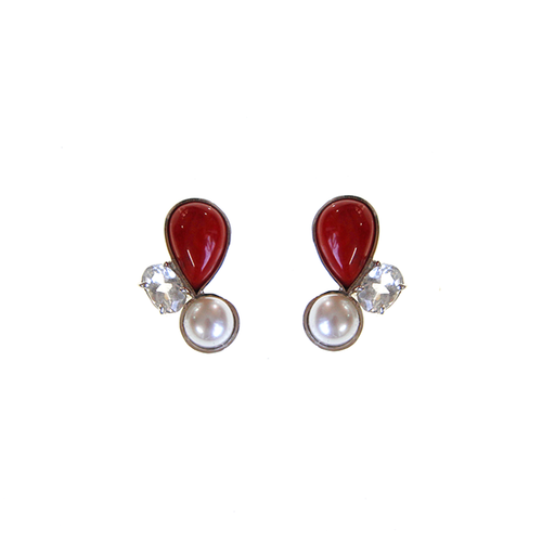 Beautiful Red Coral Pearl Earrings