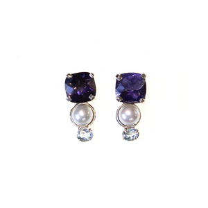 Delicate Amethyst and Pearl Earrings