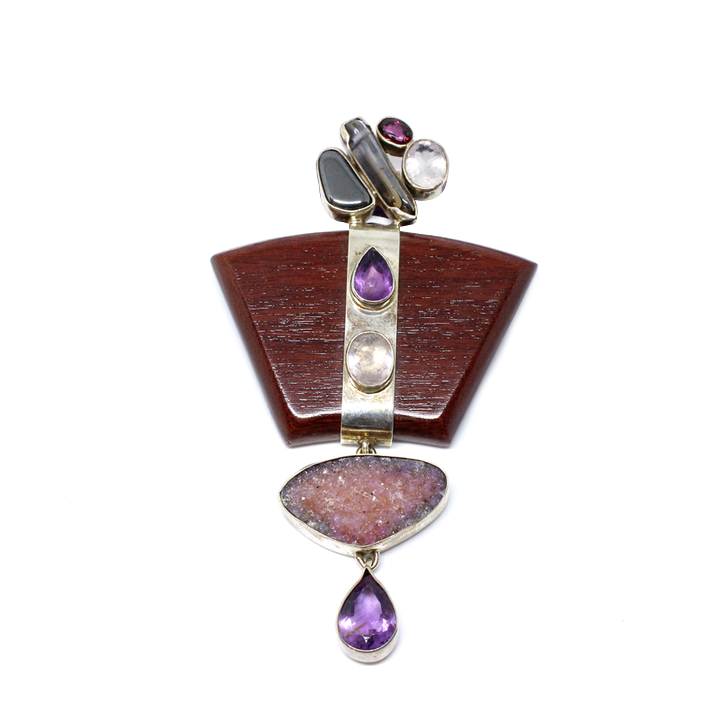 Beautiful Wood and Semi Precious Stone Pendant.