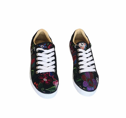 Black and Flowers Shoes