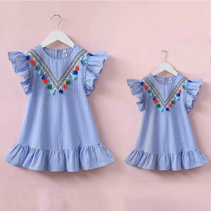 New Arrival Mommy and Me Stripe and Tassel Summer Dress