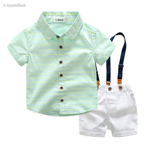 Summer Fashion Boys Striped Shirt + White Suspender Shorts 2Pcs/Sets