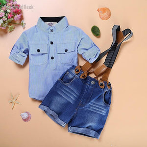 2018 Boys Fashion Set Striped Shirt + Jeans Shorts Overalls