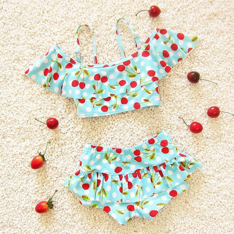 2018 Girls Two Pieces Cherry Print Bikini Set
