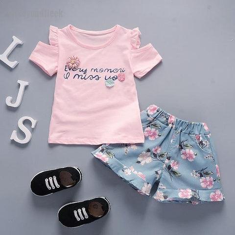 Fresh Flower Tops T-shirt+ Flora Shorts Set (12 months to 3T)