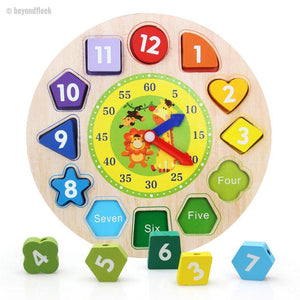 Wooden Digital Geometry Clock Toy