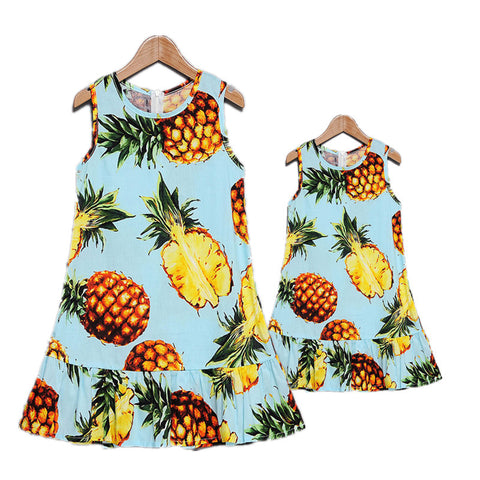 New Arrival Mommy and Me Pineapple Print Fashion Dress