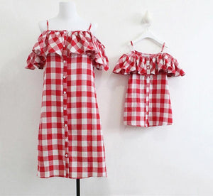 Mommy and Me Ruffle Off Shoulder Spaghetti Strap Plaid Dress