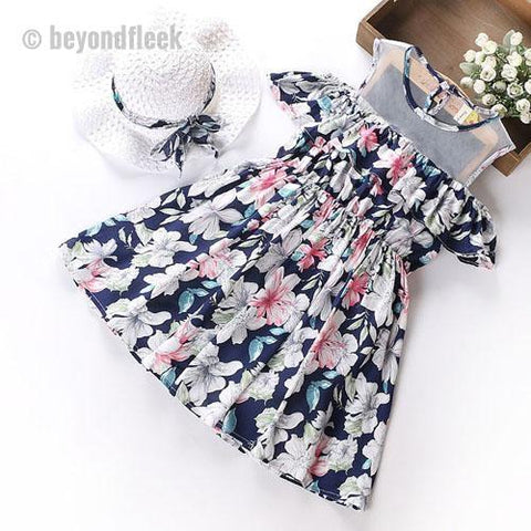 High Quality  2018 Summer Print Design Princess dress + Sun Hat