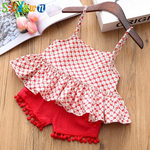 2018 Girls Cotton Ball Style Flower Shorts Set