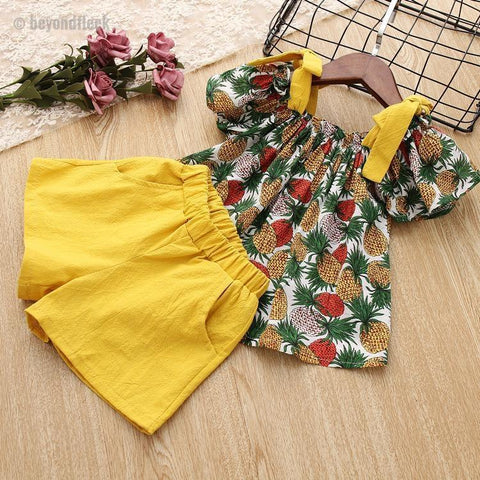 2018 New Summer Pineapple Print Top + Shorts Beach Set