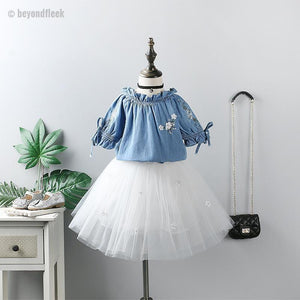 2018 New Summer Embroidery Shirt + Mesh Puff Skirt 2Pcs Set 3-7Y