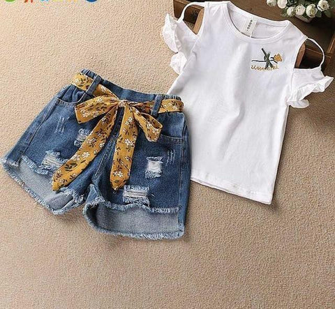 2018 Fashion Embroidered Short Sleeve Shirt + Denim Shorts Set