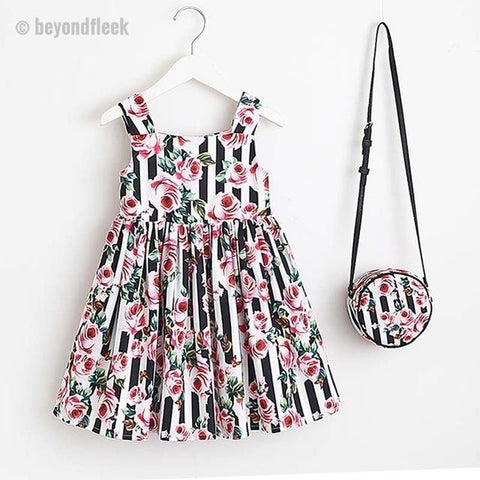 2018 Princess Girls Print Flowers  Dress+ Matching Bag