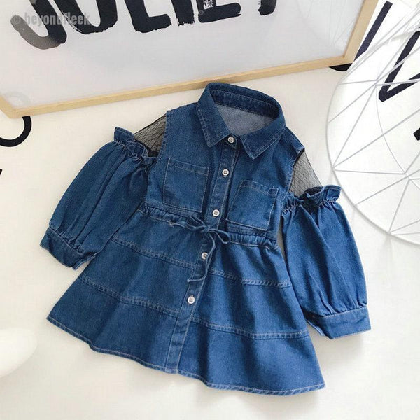 2018 Jeans Reseau Stitching Toddler A-line Girl Dresses