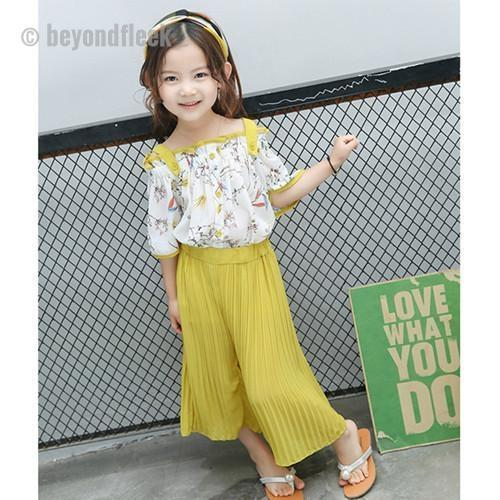 2018 New Fashion Short Sleeve Off Shoulder Print Top+Loose Pant Girl Outfit