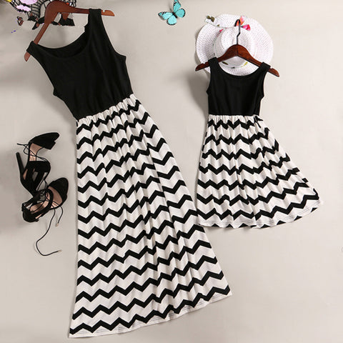 2018 Mother and Daughter Summer Beach Stripe Dresses