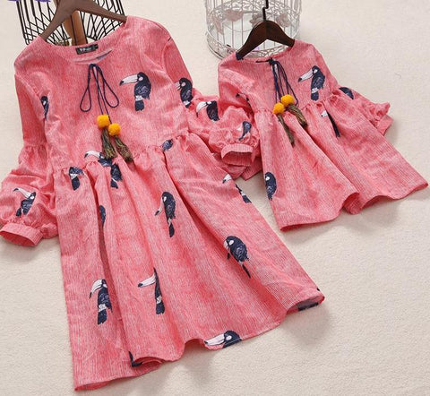 Birds Prints Lantern Sleeve Matching Dress