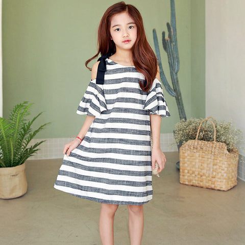 Bohemian Striped Off-shoulder Dress 3 to 12 years