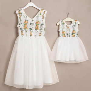 Mother and Daughter Floral Embroidered Dress