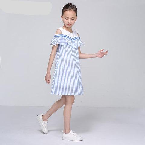 Teen Girls Striped Ruffles Design Dress Size 9 to 14 Years
