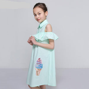 Girls Ruffle Shoulder Cotton Dress with Sequins Size 7 to 12 Years