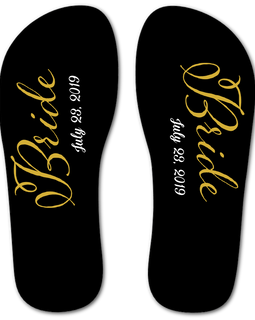 Bride Flip Flops (Black and Gold)