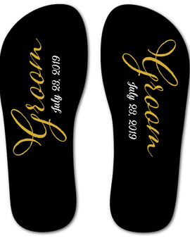 Groom Flip Flops (Black and Gold)