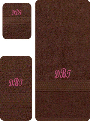 Monogram 3 Piece Dark Brown Towel Set