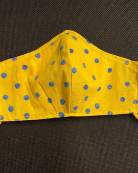 Yellow and Blue Polka Dot Face Mask