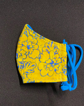 Yellow and Blue Flower Face Mask
