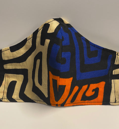 Blue/Orange African Print Face Mask