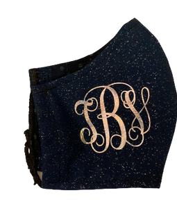 Monogram Navy Glitter Mask