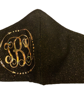 Monogram Black Glitter Mask