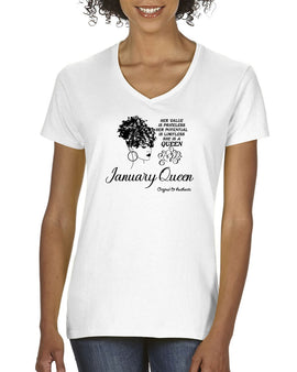January Birthday Queen Tee - V-Neck