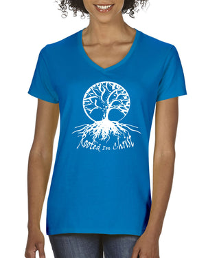 Rooted In Christ Ladies V-Neck T-shirt