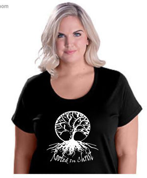 Rooted In Christ Plus Size Black T-Shirt (Black/White)
