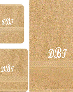 Monogram 3 Piece Tan Towel Set