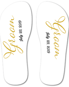 Groom Flip Flops (White)