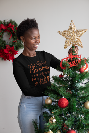 The Magic of Christmas Long Sleeve Black Tee