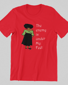 The Enemy Is Under My Feet Red Women's T-shirt