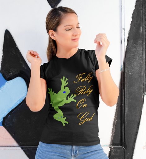 Take a Leap and Fully Rely On God Women's Black T-shirt