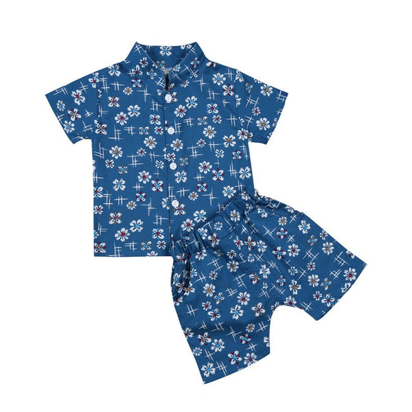 Blue Daisy Boy Shirts Set